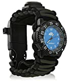 Tactical Survival Watch - Multifunctional 6 in 1 Extreme Expedition Watch with Compass, Fire Starter, Thermometer, Analog Clock, Whistle and Timer Dial for Hiking, Camping, Boating, Sporting