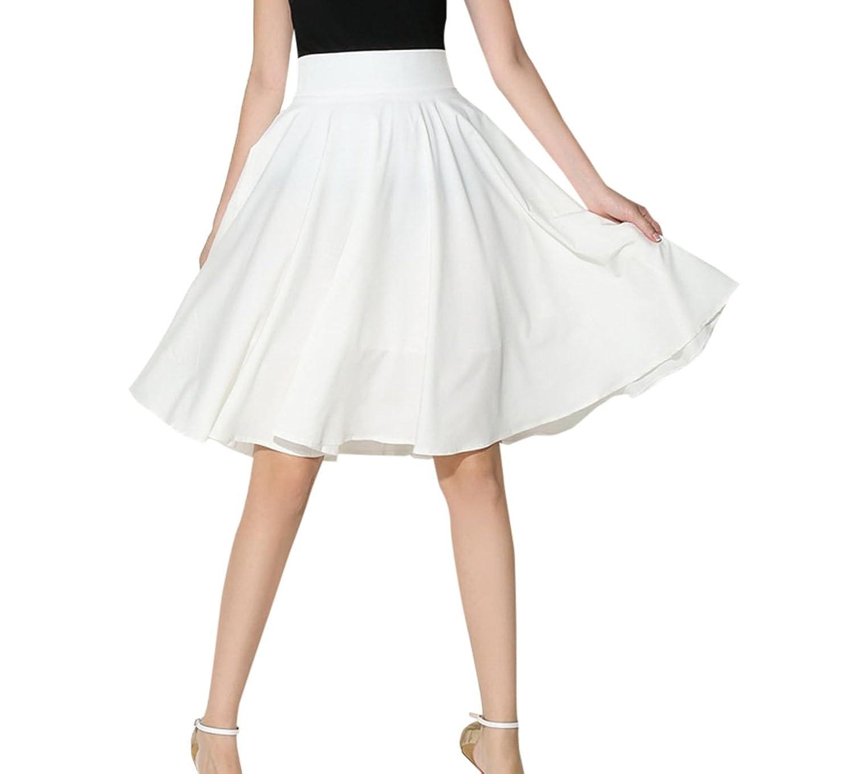 Sommer Damen Mode Einfarbig Beach Plissee Röcke Elegant