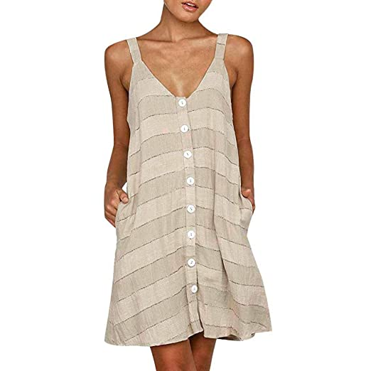 b5cb1f8d13c2b Womens Casual V Neck Button Down Sleeveless Striped Printed Backless Loose  Straight Summer Dress with Pockets