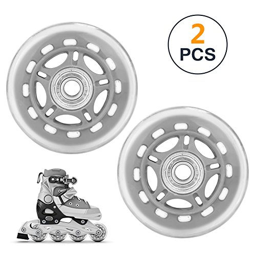 B.LeekS 70mm × 24mm Scooter Replacement Wheels, Gray Roller Skate Wheels with Bearings, Luggage Suitcase Wheels, One Set of (2) Wheels -
