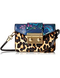 Black Label Mini Crossbody with Envelop Flap Closure with Print Blocking Detail with Leopard and Flowers