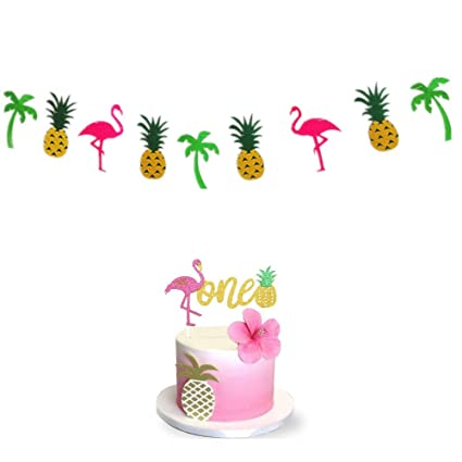 Amazon Com Flamingo Pineapple First 1st Birthday Cake Topper