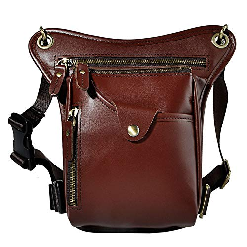 Genuine Leather Waist Leg Bag Men Real Leather Waist Pack Casual Messenger Shoulder Crossbody Bags Pouch Bags for Men,Red
