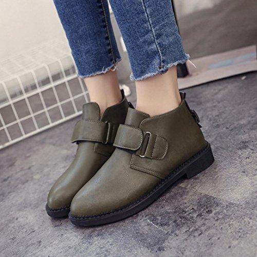 Transer® Damen Flach Kunstleder Stiefeletten Warm Knöchel Kurz Chelsea-Stiefel Winter Schuhe Martin Boot mit Klettverschluss Grün