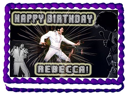 [Elvis 1/4 Sheet Edible Photo Birthday Cake Topper. ~ Personalized!] (Elvis Presley Decorations)