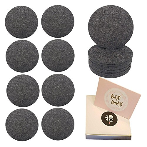 Absorbent Coasters for Drinks Set of 12, Non-slip Wool Felt Drink Coasters, Protects Your Furniture Perfect Family and Chic Party Gift (Gift Wrapping) ()