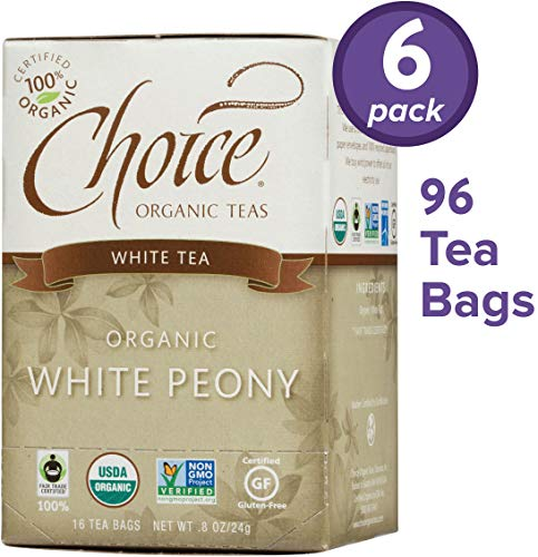 Choice Organic Teas White Tea, 6 Boxes of 16 (96 Tea Bags), White Peony