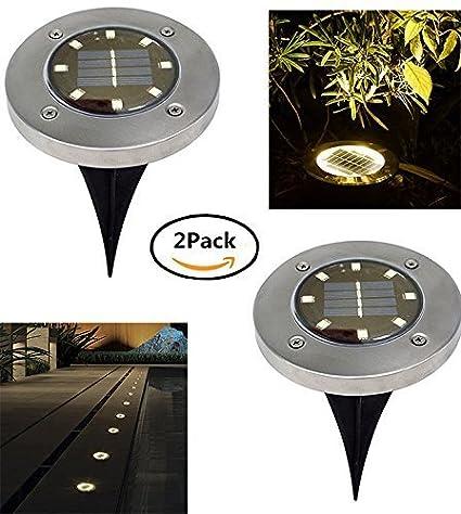Beisaqi Solar Powered Ground Garden Lights, 8 LED Waterproof Outdoor Path Lights Garden Light Landscape