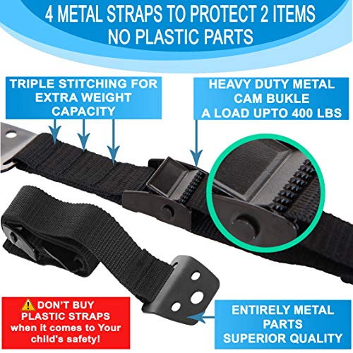 METAL Anti Tip Furniture Kit - TV Straps Safety For Flat Screens -4 Pack - Earthquake Straps - Furniture Anchors For Baby Proofing - TV Wall Straps - Child Proof Mounting Straps, Childproof Antitip by Family Care (Image #1)