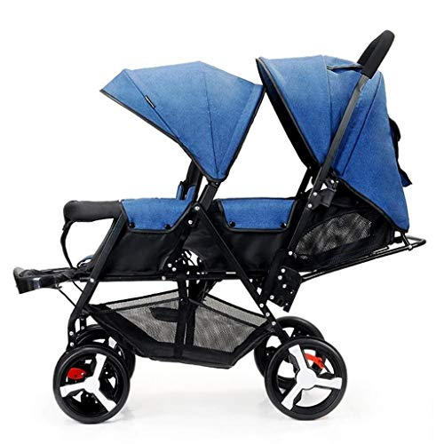 XZHSA Double Stroller Tandem Foldable Stroller 2 Canopy Pram for Babies Newborn – 3 Years Old (Color : Blue)