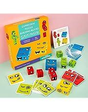Träbyggklossar leksak, träuttryck matchande block pussel, emoji-matchande pussel, byggkuber leksak boradspel, magisk ansiktsskiftande kub byggklossar pussel leksak (stil 1)