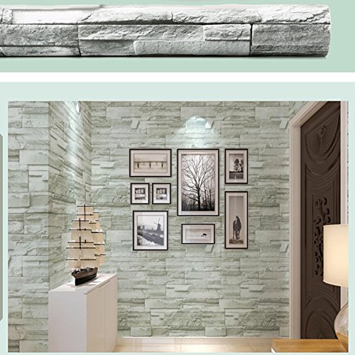 Faux Brick Contact Wallpaper, Grey Mica Stone Brick Peel And Stick Removable Self Adhesive Home Bedroom Living Room Bar Wall Decoration Wall Paper 17.7