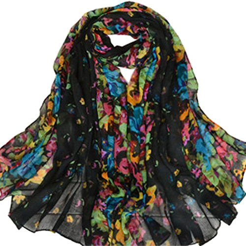 Aven Women Classy Cotton Voile Print Colorful Flowers Long Scarf Shawl Wrap Color ()