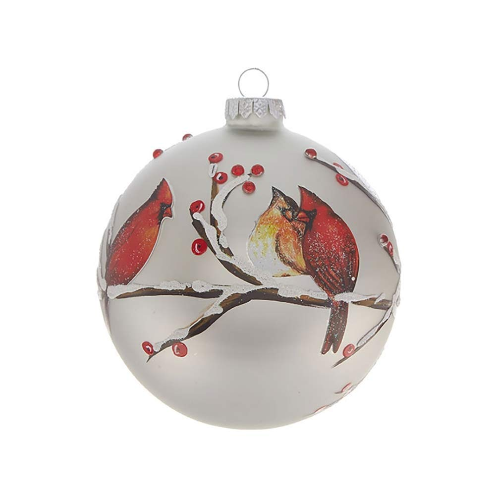 RAZ Imports Cardinals on Berry Branches Glass Ball Ornament — 5''