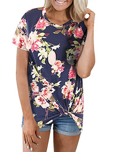 Farktop Womens Front Side Knot Print Boutique Short Sleeves T-Shirts Tops, Navy, Small
