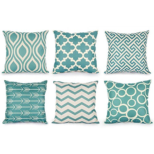 Decorative Throw Pillows Durable Canvas Outdoor Cushion Covers 16 X 16 for Couch Bedroom, Set of 6, - For Girls Throw Bed Pillows