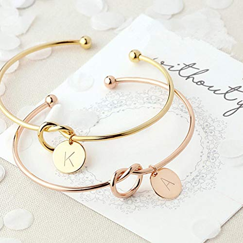 OUOK Bridesmaid Gift Initial Letter Bracelet Bride to be Bridal Shower Wedding Favors and Gifts for Guests Party Favor Souvenir,H,Rose Gold (9 Year Wedding Anniversary Gift Ideas Uk)