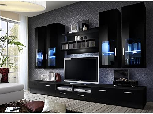 Asm Ensemble Meuble Tv Mural Lyra Night 300 Cm X 190 Cm X 45 Cm Noir Amazon Fr Cuisine Maison