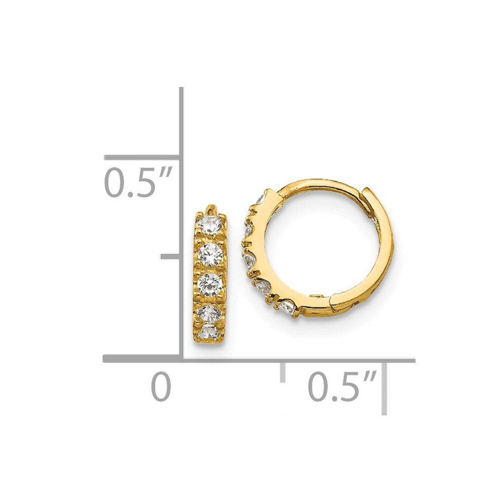 14K Yellow Gold Madi K Childrens 3 MM CZ Hinged Huggie Hoop Earrings