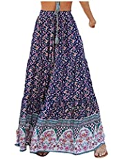DUe Women Casual Summer Elastic Waist Boho Swing Midi Skirt