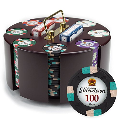 Claysmith Gaming 200ct Showdown Poker Chip Set in Wooden Carousel Case, 13.5g Heavyweight Clay Composite ()