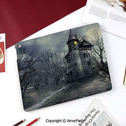 Halloween Printed Cover for Samsung Galaxy Tab A 8 Inch 2015,T350/T355C/P350/P355C Case,Halloween Design with Gothic Haunted House Dark Sky and Leafless Trees Spooky Theme Decorative]()