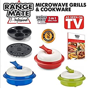 """Range Mate Pro Deluxe Nonstick Microwave 5-in-1 Grill Pot/Pan Cookware Set """"As Seen On TV"""" (Grill, Bake, Roast, Saute, Steam, Poach, & One Pot Meals)"""