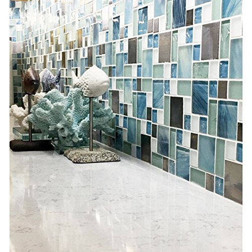 Sea Blue Green Glass Stainless Steel Tile White Kitchen Bath Backsplash  Artistic Mosaic TSTMGB028 (11 PCS [12u0027u0027 X 12u0027u0027/each])     Amazon.com