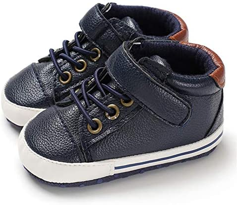 LAFEGEN Baby Boys Girls Oxford Dress Shoes Non Slip Lace Up Sneaker PU Leather Moccasins Newborn Infant Toddler Loafers First Walker Crib Shoes 3-18 Months