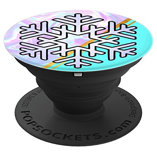 Aqua Snowflake - Snowflake Aqua Blue Color - Holiday Snowflake - PopSockets Grip and Stand for Phones and Tablets