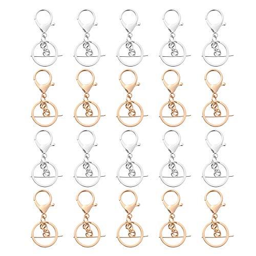 20pcs ALloy Key Ring Long Plated Lobster Clasp Key Hook Chain (10pcs Golden+10pcs Silver) ()