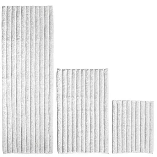 mDesign 100% Cotton Luxury Rectangular Spa Mat Rugs, Plush Water Absorbent - for Bathroom Vanity, Bathtub/Shower, Machine Washable - Ribbed Design - Runner, Standard & Small Rug - Set of 3 - White
