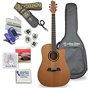 Antonio Giuliani Acoustic Mahogany Guitar Bundle (DN-1) – Dreadnought Guitar with Case, Strap, Tuner, Strings and Accessories By Kennedy Violins 511uJSyUoiL