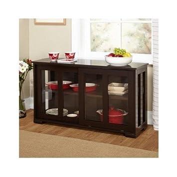 Stackable Home Kitchen Dining Room Bathroom Hallway Storage Cabinet Sliding Door Adjustable Shelf Expresso