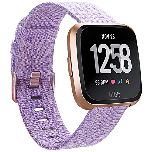 EZCO Compatible Fitbit Versa Bands, Woven Fabric Breathable Watch Strap Quick Release Replacement Wristband Accessories Compatible Fitbit Versa Smart Watch Women Man (Special Edition Lavender)