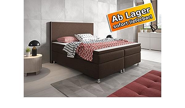 Cama con somier cama King Size 180 x 200 cm tejido marrón ...