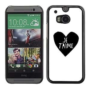 rígido protector delgado Shell Prima Delgada Casa Carcasa Funda Case Bandera Cover Armor para HTC One M8 /Love Heart Black White I You Je T'Aime/ STRONG