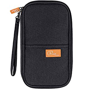 Passport Wallets, Waterproof Travel Wallet Family Passport Holder Document Card Organizer Case with Hand Strap, Ticket Credit ID Card Cash Pouch Money Bag for Men Woman by ManKn (Black)