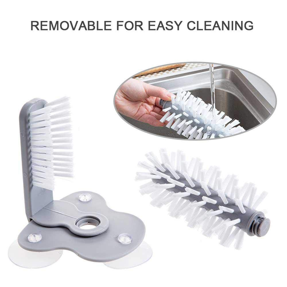 Lazy Rotating glass washer Glass Double-Sided Brush etc Place Vertical Glass Bottle Creative Wall-Mounted Washing Cleaner Tools with Suction Cups Suitable for Bars Kitchens