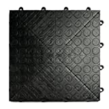 tile floor patterns GarageDeck Coin Pattern, Durable Interlocking Modular Garage Flooring Tile (48 Pack), Black