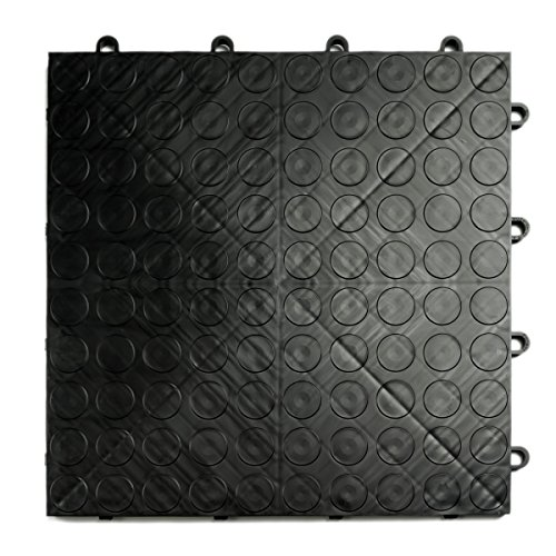 GarageDeck Coin Pattern, Durable Interlocking Modular Garage Flooring Tile (48 Pack), Black