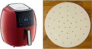 GoWISE USA 5.8-Quart Programmable 8-in-1 Air Fryer XL + Recipe Book (Chili Red) & USA GWA0006 Perforated Parchment Non-Stick Liners for Air Fryers, Steaming, Dumplings-100 Pcs, 9 Inches, White