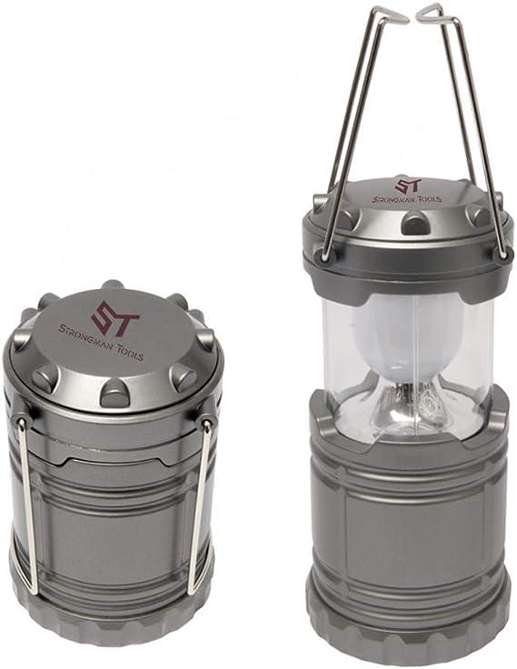 PROMO SHOP Lampara LED Camping Plegable con 2 Colgadores - Color Plateado Mate · Funciona con Pilas · Potente y Brillante Farol LED Ideal para ...