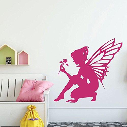 Fairy Wall Decal with Flower Design - Vinyl Sticker Decoration for Nursery, Girls Bedroom, Teen or Tween Room - Pink Fairies Flowers Victorian