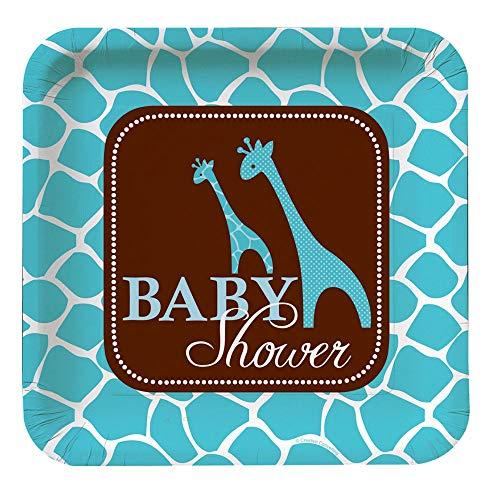 (Creative Converting Baby Shower Wild Safari Blue 8 Count Paper Dinner)