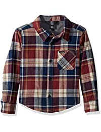 Little Boys Caden Plaid Long Sleeve Flannel Button Up Shirt · Volcom