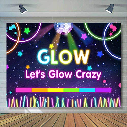 (Allenjoy 8x6ft Neon Glow Backdrop Let's Glow in The Dark Photography Background Splatter Blacklight Sleepover Party Banner Adult Kids Birthday Decoration Supplies Photo Booth)