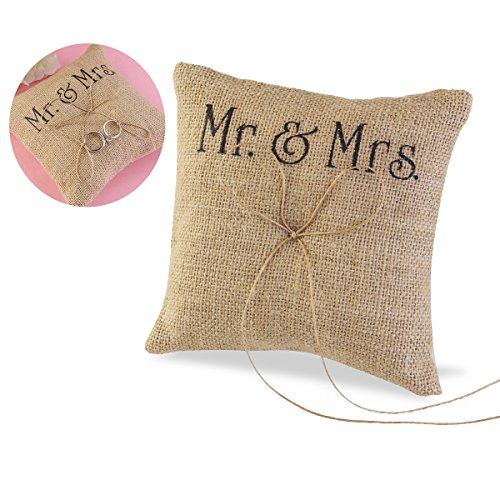 TINKSKY Wedding Pillow Burlap Rustic