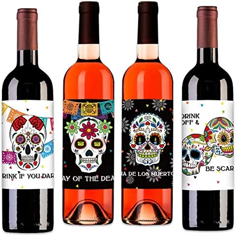 4 Wood Drink Coasters SUGAR SKULL #25 Glossy Bar Kitchen Beverage Decor Dia de los Muertos Day of the Dead Halloween Horror Scary Gift