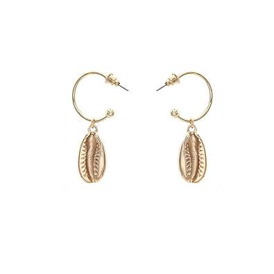 d3bcbbf357f3 Amazon.com  Comiya Drop Earrings Gold Color Zinc Alloy Shells ...